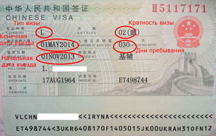 Образец визы в Китай