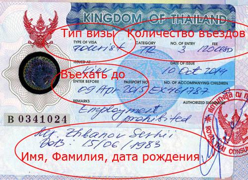 Образец визы в Таиланд